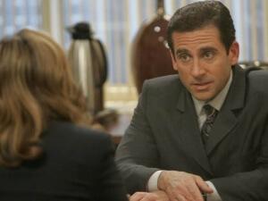 "THE OFFICE -- ""The Negotiation"" Episode 3019 -- Pictured: (l-r) Melora Hardin as Jan Levinson, Steve Carell as Michael Scott -- NBC Photo: Chris Haston"
