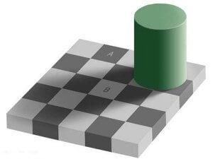 Slova A i B su iste boje, iako vaš možak pokušavajući da uoči okolne boje potiskuje prisustvo senke